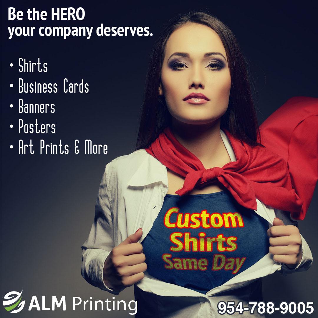 custom shirts; business cards; printing